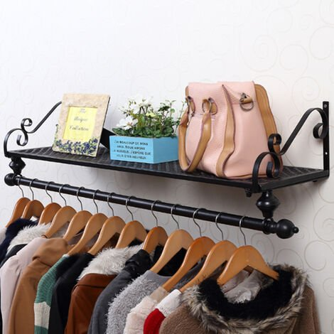 Metal Clothes Rail Wall Mounted Garment Hanging Display Storage Rack & Shelf