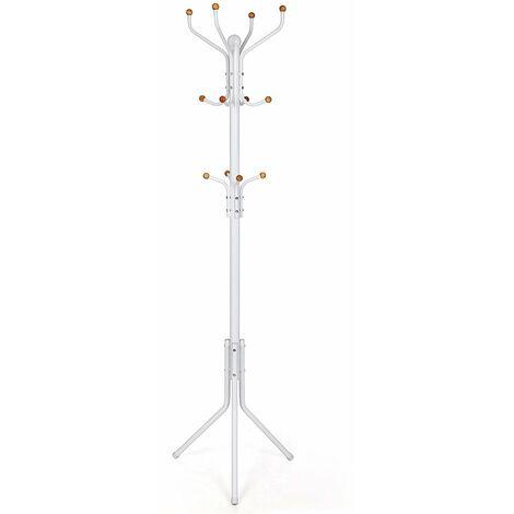 Metal Coat Rack Clothes Stand Hat Handbag Hanger Hall Tree White 182cm RCR19W