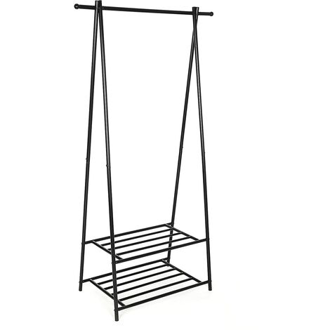 Metal Coat Rack Clothes Stand with 2-tier Clothes Shoe Hat Rack Entryway Organizer Black/White