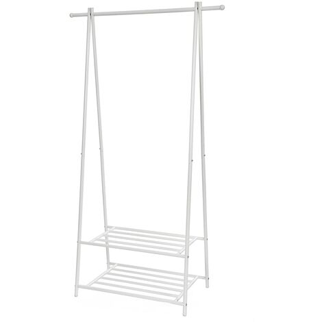 """main image of """"Metal Coat Rack Clothes Stand with 2-tier Clothes Shoe Hat Rack Entryway Organizer Black/White"""""""