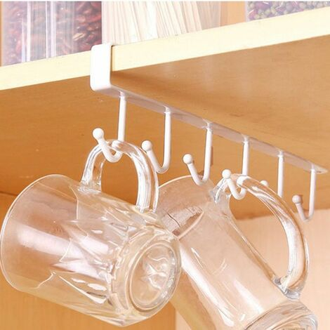 Metal Cups Holder Over Door Storage Rack Under Cabinet Shelves Hanging Holder