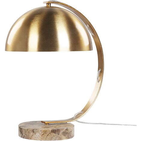 Metal Curved Table Lamp Arc Bedside Light Gold Marble Base Kittan