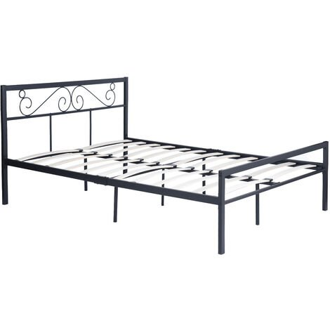 Metal double bed with wooden slatted bed with headboard and footrest Solid vintage bed base with large storage space