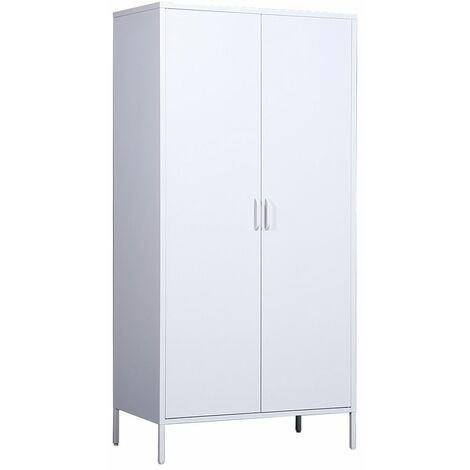 Metal Double Door Wardrobe, with Inside Shelving and Clothes Rail - White