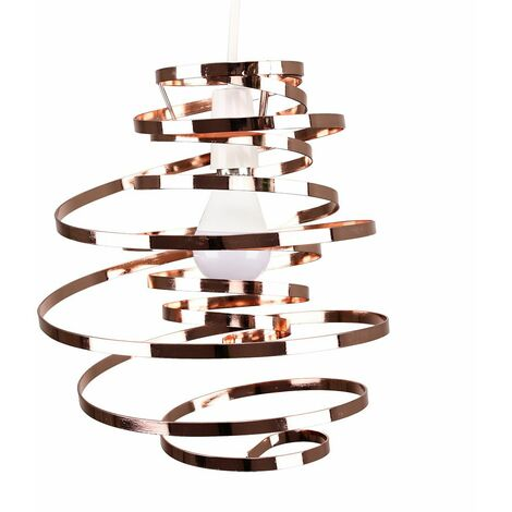 Metal Double Ribbon Spiral Swirl Ceiling Light Pendant - Pink