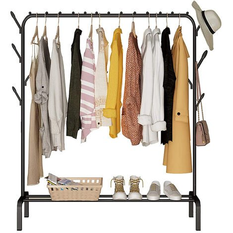 Metal Drying Clothes Rack Heavy Duty Freestanding Hanging Rail Coat Rack with Hook