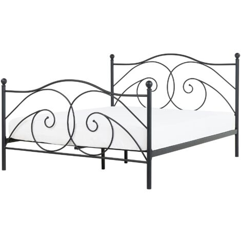 Metal EU Double Size Bed Black DINARD
