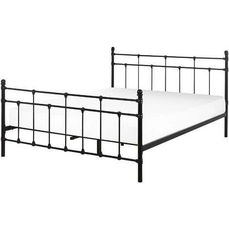 Metal EU King Size Bed Frame Black LYNX
