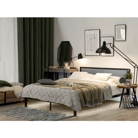 Metal EU King Size Bed with LED Black CLAMART