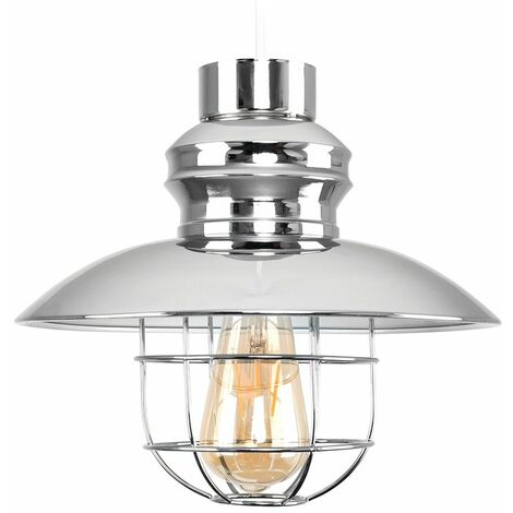 Metal Fishermans Pendant Ceiling Shade With LED Bulb - Grey - Grey