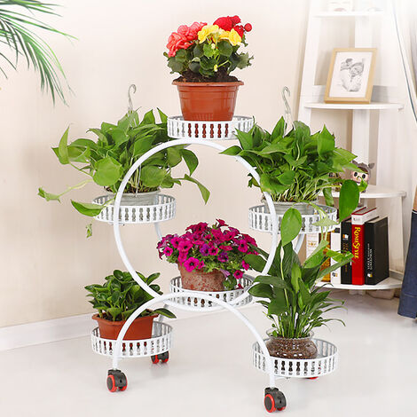 Metal Flower Pot Shelf Stand Rack 74x30x78cm white Plants Display Holder Patio Balcony Basic-type