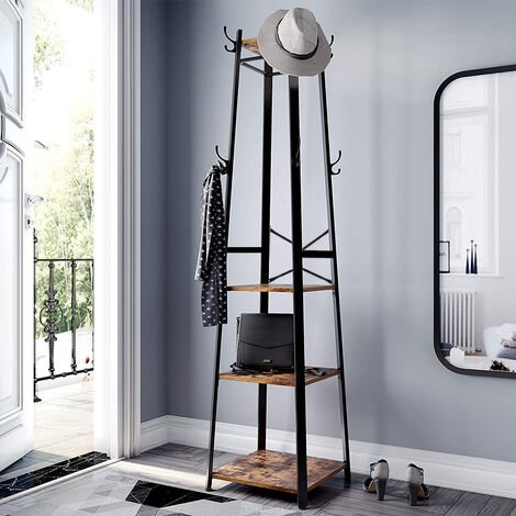 Metal Frame Coat Rack, Industrial Coat Stand with 3 Shelves, Ladder Shelf with Hooks and Clothes Rail,Black