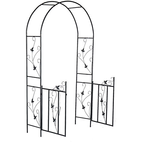 Metal Garden Arch Wedding Archway Plant Trellis Rose Arches with Gate 230*110*55cm Black