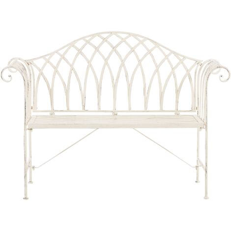 Metal Garden Bench 130 cm White MILAZZO