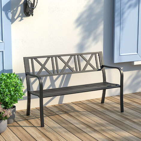 """main image of """"Metal Garden Bench Cast Iron Backrest Patio Chair Armrest Outdoor Seating Black"""""""