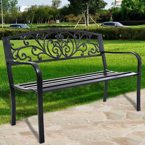 """main image of """"Metal Garden Bench Patio Park Loveseat Cast Iron Steel Outdoor Furniture Vines"""""""