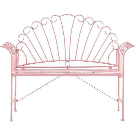 Metal Garden Bench Pink CAVINIA