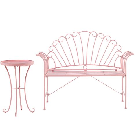 Metal Garden Bench Set Pink CAVINA