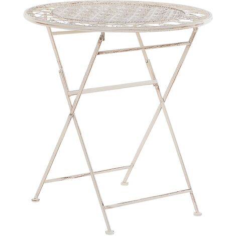 Metal Garden Bistro Table Beige TRIESTE