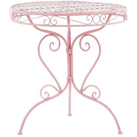Metal Garden Bistro Table Pink ALBINIA