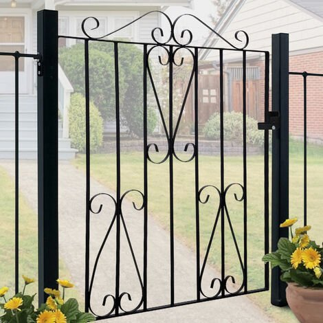Metal Garden Gate 3ft Heavy Duty Wrought Iron Gate with Fittings Bolt