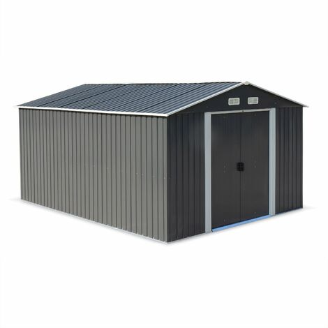 Metal garden shed in anthracite, 12m² - MELANTOIS - Tool shed with two large sliding doors, including floor fixing kit, storage house