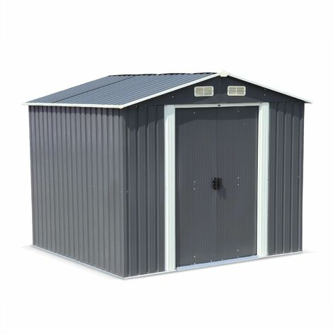 Metal garden shed in anthracite, 5m² - ARTOIS - Tool shed with two large sliding doors, including floor fixing kit, storage house
