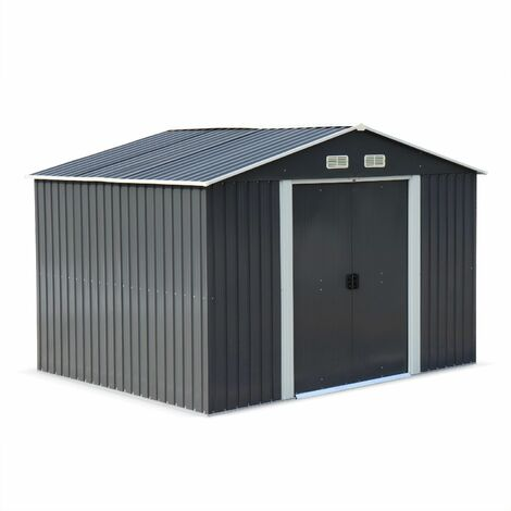 Metal garden shed in anthracite, 7m² - WEPPES - Tool shed with two large sliding doors, including floor fixing kit, storage house