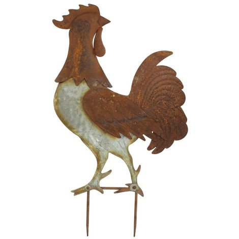 Metal Garden Stake Rooster Shape Statue