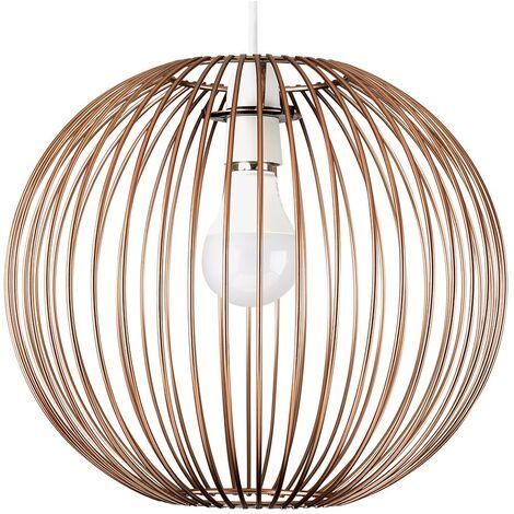 Metal Globe Ceiling Pendant Light Shade Copper Finish + 6W LED Gls Bulb - Warm White - Copper