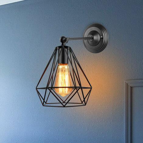 Metal Iron Cage Wall Light Black Retro Creative Wall Lamp Industrial Chandelier for Indoor Barn Restaurant Bedroom