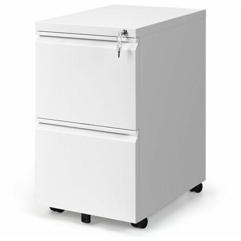 Metal Lockable 2 Drawer Mobile Filing Pedestal Cabinet File Storage Office White