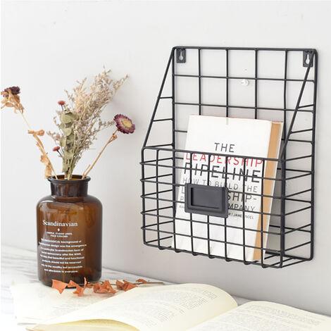Metal Magazine Newspaper Rack Home Office Wall Mounted Letter Book Holder Basket