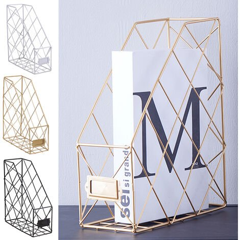 Metal Magazine Newspaper Wire Basket Storage Rack Organizer Office Home