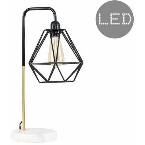 Metal & Marble Table Lamp with a Metal Basket Cage Shade + 4W LED Filament Amber Bulb