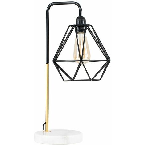 Metal & Marble Table Lamp with a Metal Basket Cage Shade