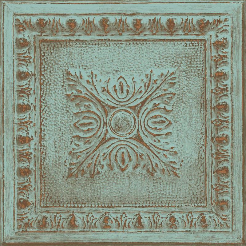 Image of Metal Panel Wallpaper Ornamental Turquoise Copper Paste The Wall - A Street Prints