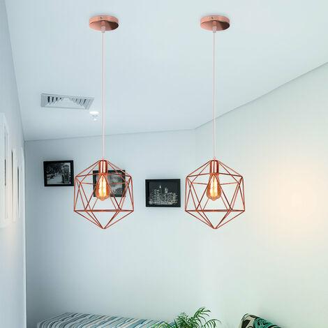 Metal Pendant Lamp Antique Pendant Light Iron Cage Industrial Hanging Light Minimalist Modern Ceiling Lamp Rose Gold