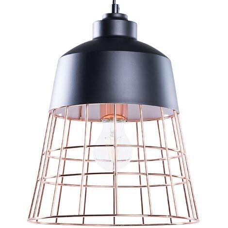 Metal Pendant Lamp Black and Copper MONTE