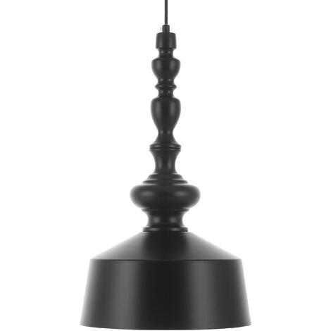 Metal Pendant Lamp Black DRIVA