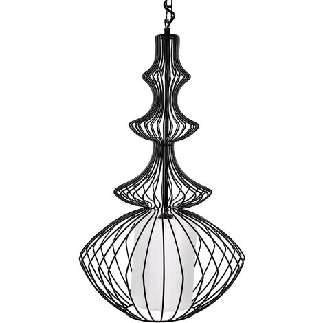 Metal Pendant Lamp Black KOLVA