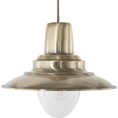 Metal Pendant Lamp Brass PINEGA
