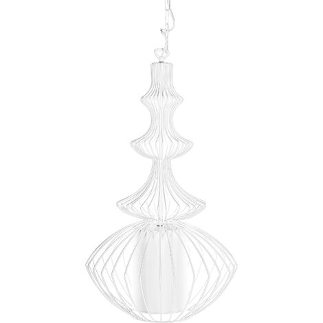Metal Pendant Lamp White KOLVA