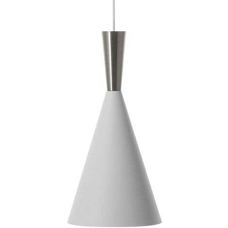 Metal Pendant Lamp White with Silver TAGUS