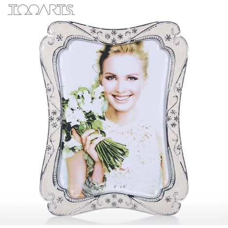 Metal Photo Frame with Glass Cover,White,M