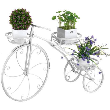 Metal Plant Holder Rack Bicycle Shape Planter Flower Pot Shelf Grid