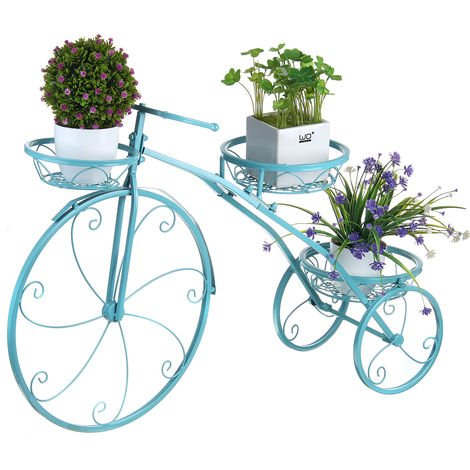 Metal Plant Holder Rack Bicycle Shape Planter Flower Pot Shelf Blue Grid