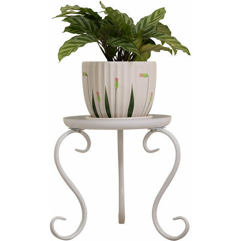 Metal Plant Stand Flower Pot Holder Display Shelf white