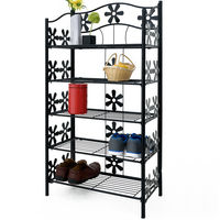 Metal Rack with Shelves Decorative Flower Design Height 50 to 112 cm