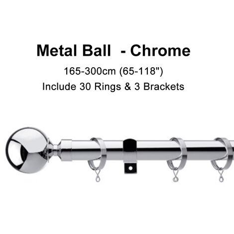 Metal Retractable Rod Track Curtain Rod Curtain Pole 165-300cm